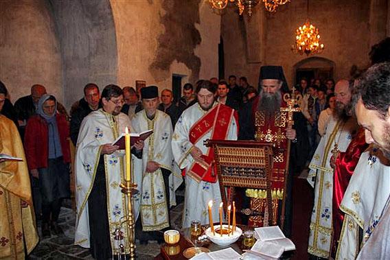 Служба јелеосвећења у манастиру Ђурђеви Ступови